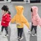 2019秋季新款�n版童�b 中小童卡通印花女孩小房子�B帽外套上衣潮